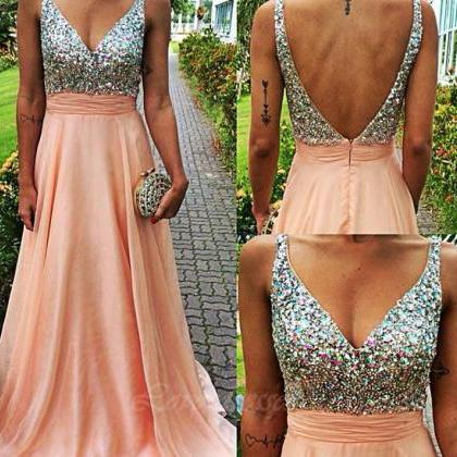 Prom Dresses Straps Backless Beads,..