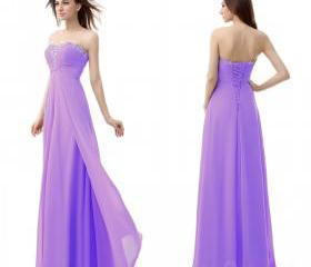 Long Bridesmaid Dresses Strapless Evening Dress Party Dress Beads Chiffon Dress Prom Dress S037