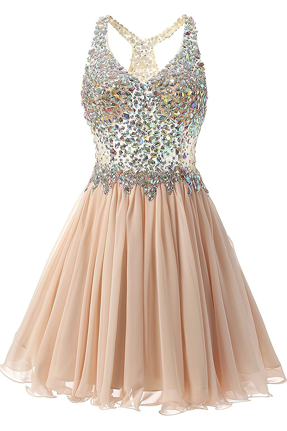 Champagne Short Cocktail Dress Open Back Party Prom Dress