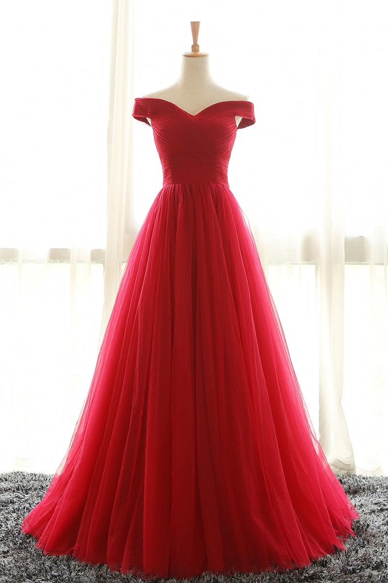 Off Shoulder Long Tulle Ruched Bodice Prom Dress Wedding Party Gown for Women
