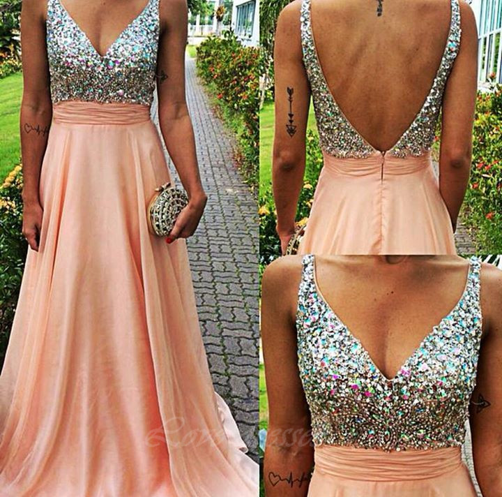 Prom Dresses Straps Backless Beads,Long Prom Dresses Hot Sales Cheap Chiffon Evening Party Dresses S271