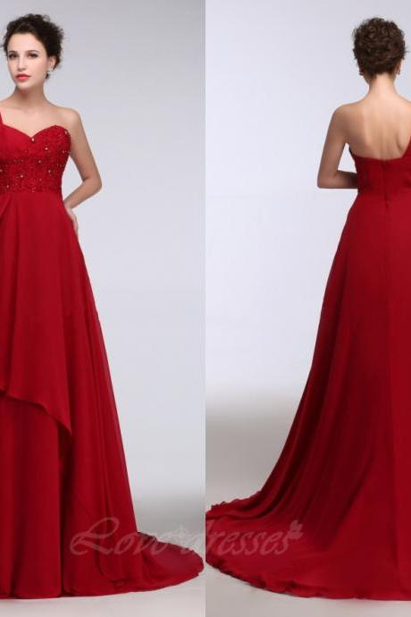 Red Chiffon Long Prom Dresses One Shoulder Backless Beading Elegant Cheap Evening Party Dresses Prom Gown S264