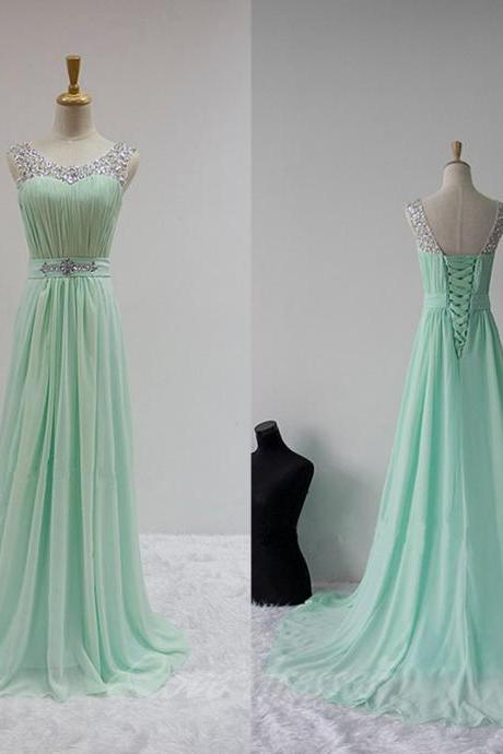 Long Chiffon Straps Prom Dress Beaded Backless Cheap Evening Party Dress Prom Gown S276