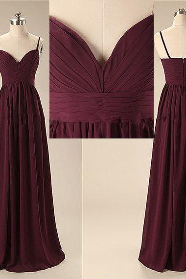 Elegant Handmade Long Sweetheart Straps Simple Prom Dresses, Long Prom Gowns, Bridesmaid Dresses, Wedding Party Dresses S370