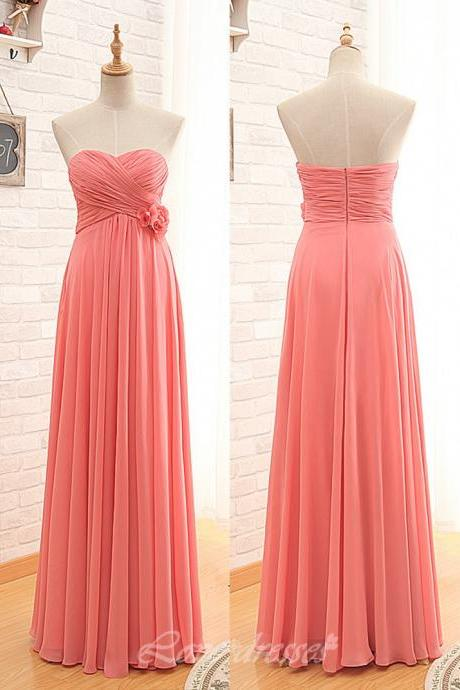 Long Bridesmaid Dresses, Chiffon Bridesmaid Dresses, StraplessLong Bridesmaid Dresses,Bridesmaid Dresses, Backless Bridesmaid Dresses,Sweetheart Collar Bridesmaid Dresses, Bridesmaid Gown S376