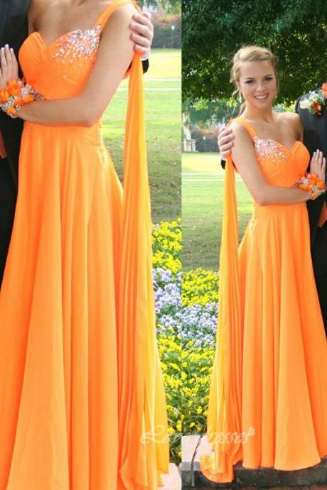 Long Chiffon Prom Dress One Shoulder Floor Length Crystals Evening Party Dresses S383