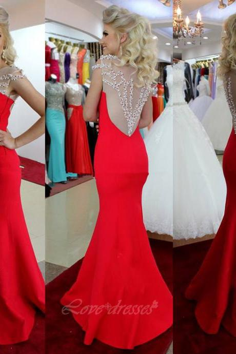 Sexy See Through Red Mermaid Long Prom Dress Beading Evening Gown On Luulla Sale S442