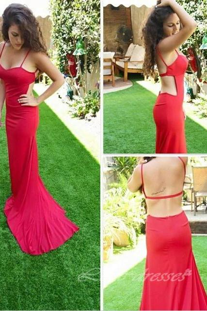 Gorgeous Mermaid Long Red Long Prom Dress with Backless Sexy Party Dress,S483
