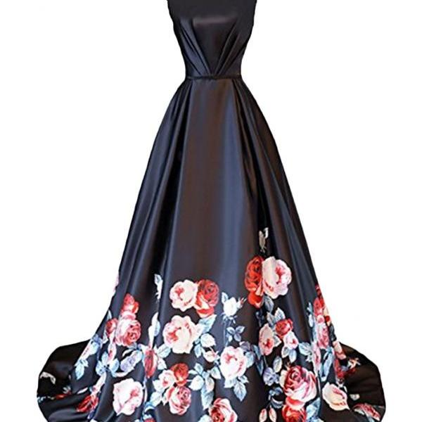 Open Back Long Printed Prom Gown Women Evening Party Dresses