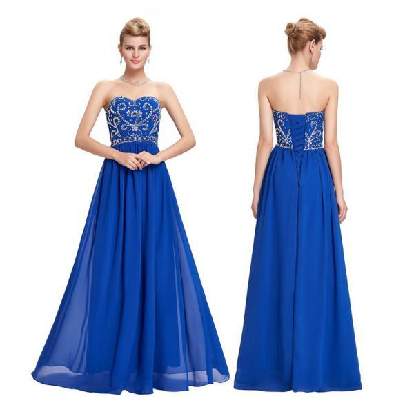 Party Evening Dresses Blue Chiffon Wedding Prom Gowns For Women